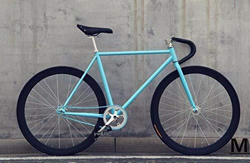 Fahrrad Fahrrad mit Fester Ausrüstung 46 cm 52 cm 56 cm DIY Single Speed Rennradbahn Fixie Fahrrad Fixie Fahrrad-Blau_52 cm (175 cm-180 cm)