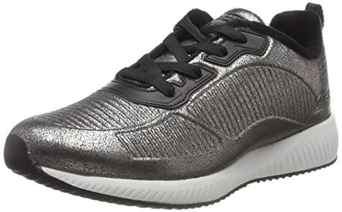 Skechers Womens BOBS Squad Trainers, Silver (Pewter Duraleather/Chenille Line Pew), 2 UK (35 EU)