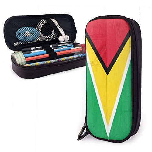 Estuche Escolar de Gran Capacidad, Bolsa de Lápiz Organizador para Material Papelería con Cremallera Doble Bandera de madera de Guyana para Hombre Mujer Estudiante en Escuela Oficina