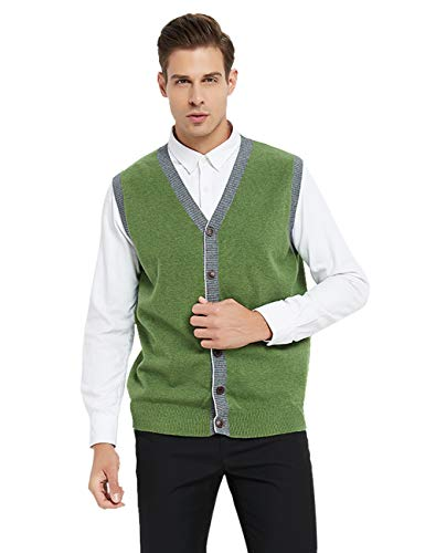 TOPTIE Men's Slim Fit Stylish Button Down Knitted Sweater Cardigan Vest-Green-L