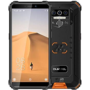 OUKITEL WP5 (2020) 4G Outdoor Smartphone ohne Vertrag, 8000mAh Batterie 4 LED Blitzlicht, Robustes Handy IP68, MTK6761 4GB + 32GB, 13MP + 2MP + 2MP, Android 9.0, Gesichtserkennung, GPS WiFi Orange