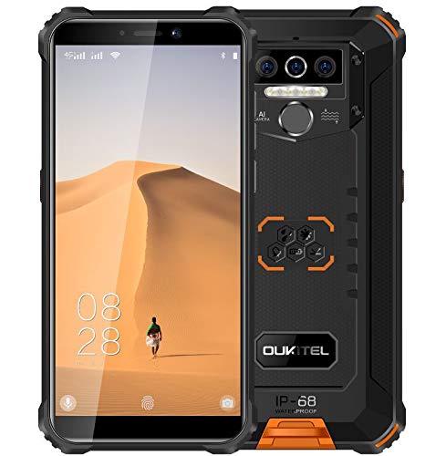 4G Rugged Cellulare (2020) OUKITEL WP5, Batteria da 8000 mAh, Smartphone Antiurto IP68, Luce Flash a 4 LED, MTK6761 4GB + 32GB, 13MP + 2MP + 2MP, Android 9.0, Riconoscimento Facciale, GPS Arancia