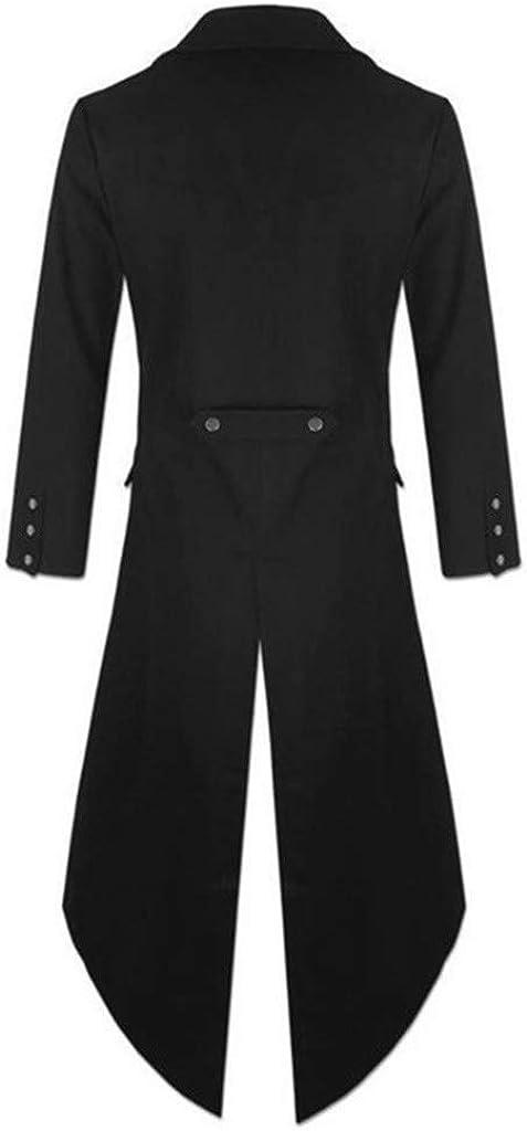 OMINA Mens Vintage Steam Punk Jackets, Winter Casual Retro Gothic Dress Coat Black Windbreaker Trench Coat