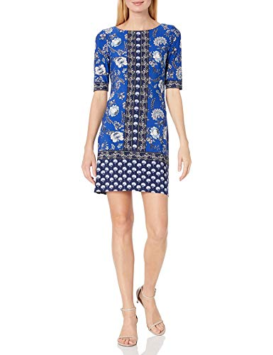 Eliza J Women's Elbow Sleeve Printed Jersey T-Body Shift Dress with Exposed Zipper Casual, Cobalt, 16