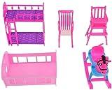 5 pièces Maison de poupée Miniatures Meubles décor Fait à la Main Cheval à Bascule lit superposé lit Simple Chaise de Salle à Manger