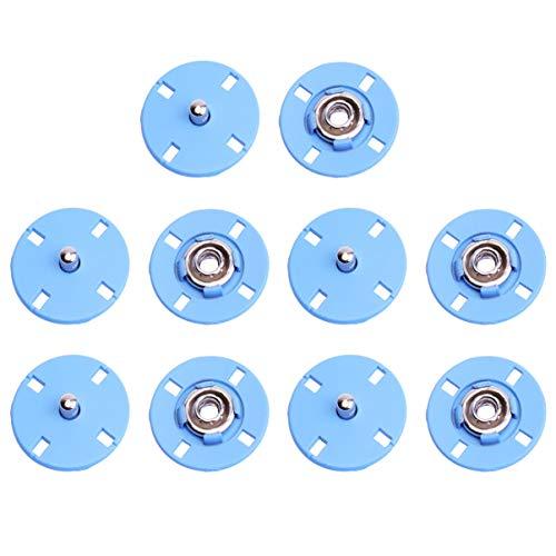 EXCEART 10 Piezas Cosen Botones a Presión Cierres Metálicos a Presión Botones de Botones para Coser Ropa Chaquetas de Cuero Manualidades DIY 21 Mm (Azul Celeste)