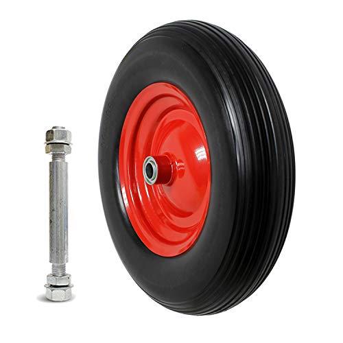 Forever Speed Schubkarren Reifen Schubkarrenrad Pannensicher 4.00-8 PU Vollgummi Reifen mit Achse für Schubkarre, 390mm Vollgummireifen Sackkarrenrad, Max Belasting 120 kg