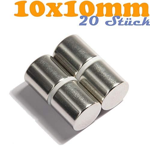 Neodym Magnet Mini 10x10mm Für Magnettafel Pinnwand Kühlschrank Starker Scheiben Magnete - Whiteboard Flach Rund 10mm x 10mm - N45 Stark (20)