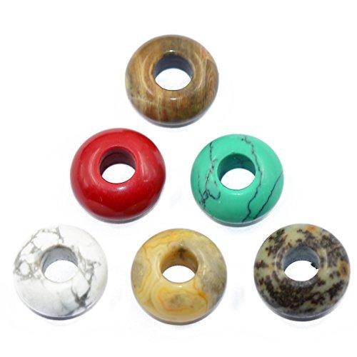 Unbekannt 6pcs Turquoise Jasper Jade Achat Edelstein Rondelle Perlen Beads Perle