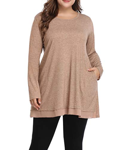 Spring Plus Size Tunic Tops Hidden Pockets Long Flowy Shirts for Women(Brown,1X)
