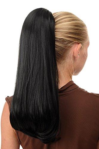 WIG ME UP ® - BRO-525-1B Extensión de pelo coleta con un clip grande muy larga lisa voluminosa negra