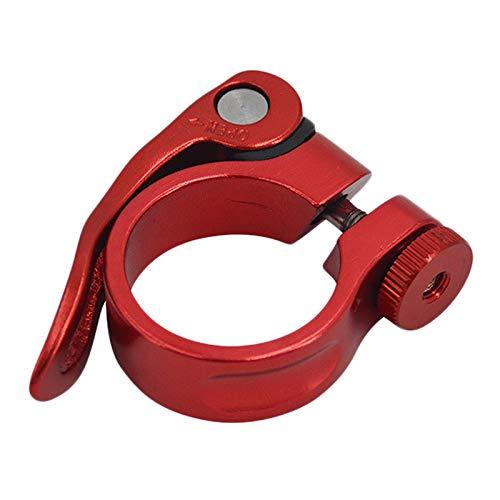 sinzau Abrazadera de sillín de aleación de aluminio para bicicleta, con cierre rápido, 31,8-34,9 mm, color rojo