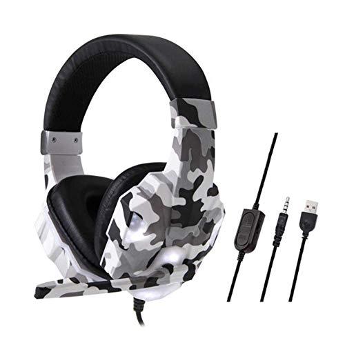 MZZYP Nuevo para PC PS4 PS3 Xbox Camuflaje inalámbrico Auriculares de Juego Profesional Gamer Estéreo Head-montado Auriculares Auriculares Auriculares (Color : White)