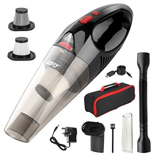 DOFLY Handstaubsauger kabellos, 8500PA Super Saug-Handstaubsauger, wiederaufladbarer Handsauger mit LED-Licht, leicht, nass trocken Vakuum für Zuhause/Haustier/Auto, Schwarz & Rot
