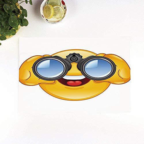 Set 4er Platzset rutschfest, Emoji, Smiley-Gesicht mit einer Teleskop-Fernglas-Brille, di,Platzdeckchen Rutschfest Abwaschbar Tischmatten Abgrifffeste Hitzebeständig Tischsets, Platz-Matten für küche
