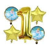 Ysguangs Globos 5pcs / Set Princesa Blancanieves Cenicienta Hoja hincha Ducha del bebé Fiesta de cumpleaños Decoración Globos de Helio (Color : 4)