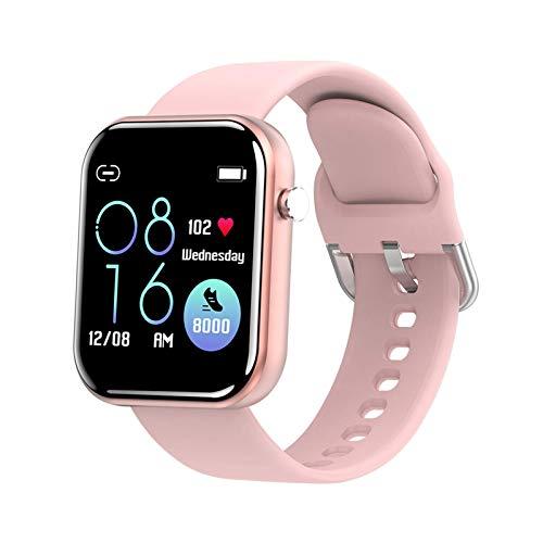 GANG Smart Watch, Bluetooth Smart Watch Hombres Mujeres Tarifa Cardíaca Presión Arterial Fitness Tracker Pedómetro Deporte Reloj Inteligente para Iphone Moda/Rosado