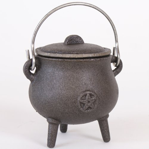 Attractive Small Cast Iron Cauldron With Pentagram Design Plus Lid and Handle. Approx 11cm Tall- Not Including Handle by THE FLYING WITCH