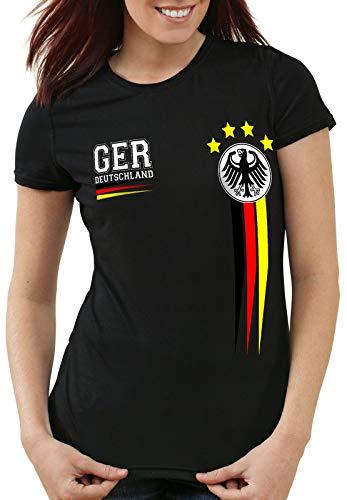 style3 Deutschland Damen T-Shirt Germany Fußball Europameisterschaft Trikot EM 2020, Farbe:Schwarz, Größe:XS