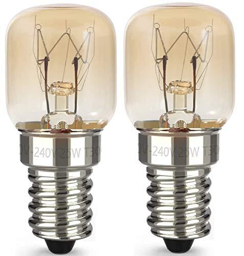 AcornSolution 25W T22 E14 230-240V SES backofenlampe Dimmbare klare GLS-Glühbirne für Kühl- und Gefriergeräte (2er-Pack)