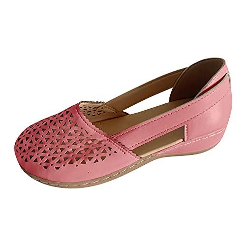 Sandales plates pour femme - Sandales d'été plates à talon compensé - Orteils fermés - Sandales de plage élégantes - Sandales de loisirs - Sandales de plage