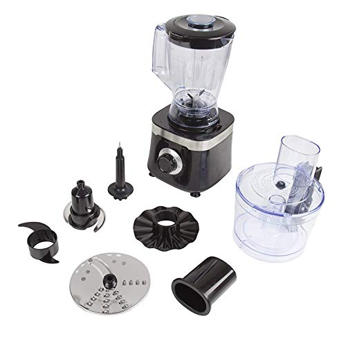 Tower T18004 Food Processor with 1.4 Litre Blending Jug and 1.5 Litre Food Processor Bowl, 600 W, Black