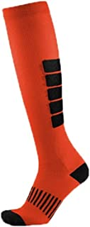 Men and women long-barreled compression socks outdoor sports socks thick stripes running compression stockings Leggings Physiotherapy socks (Color : Orange, Size : L/XL)