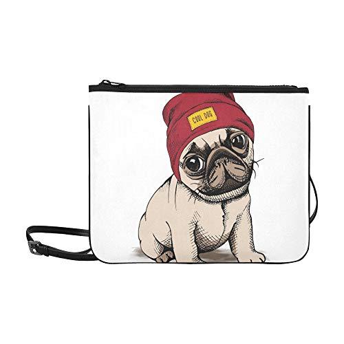 WYYWCY Puppy Dog Mops Hipster Hut Benutzerdefinierte hochwertige Nylon Slim Clutch Cross Body Bag Schultertasche