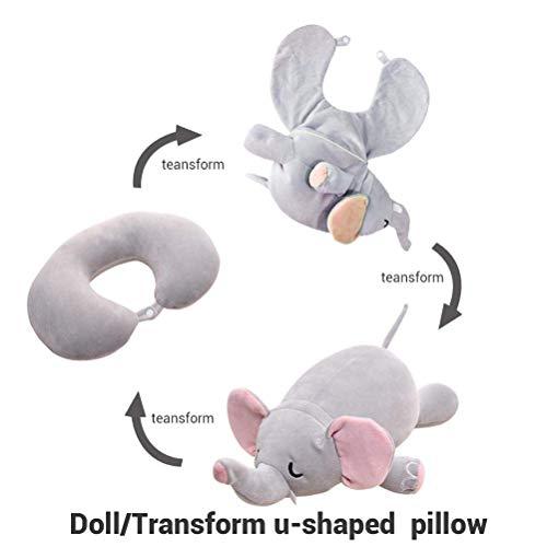 Heylas nekkussen voor kinderen, U-vormig pluche speelgoed voor kinderen, comfortabel om te slapen in het vliegtuig, in de auto of in de trein.