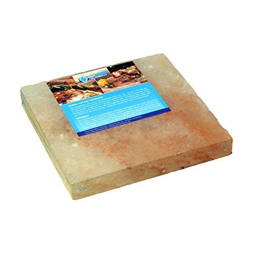 1 Salzstein BBQ Salzplatte(20x20x2,5cm) zum Grillen (2.2kg), mehrfach verwendbar; Salzhändler seit 1855