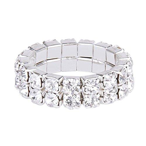 K9 Elastic Silver Tone 2 Row Rhinestone Toe Ring Bridal Jewelry by Khim