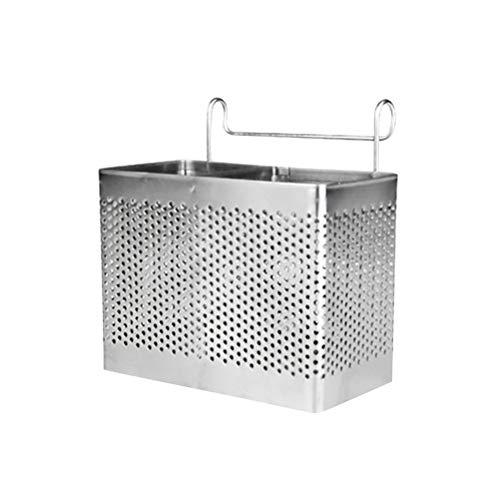 BESTONZON Soporte rectangular para palillos de acero inoxidable Colgador Cubiertos Secador Cesta Vajilla Escurridor con ganchos (compartimentos dobles)