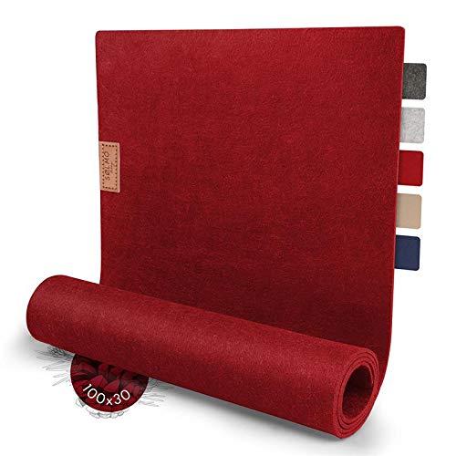 sølmo I Design Tischläufer aus Filz I 100x30 cm Tischband I Abwaschbar mit Leder Label, Skandinavischer Tisch Filzläufer Herbst Weihnachten (Wine Red)