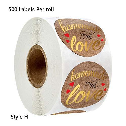 500 Stück/Rolle Selbstgemacht Mit Liebe Kraft Runde Aufkleber Goldfolie Seaing Labels Für Small Shop