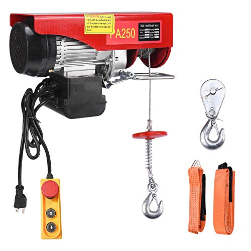 Oswerpon 500 lbs Lift Electric Hoist, Wire Remote Control Power System110v Winch Overhead Crane Garage Ceiling Pulley Steel Cable with 2 Lift Slings Straps