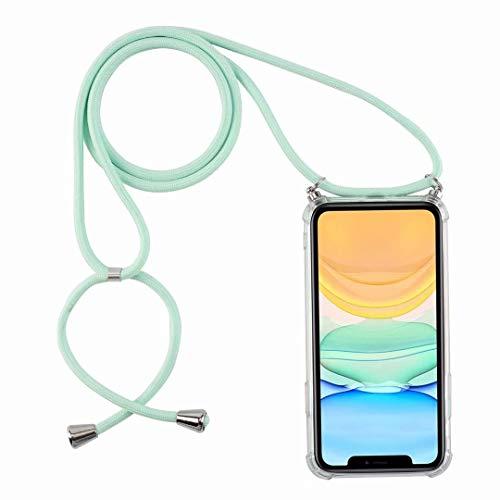 Bigcousin Funda con Cuerda Compatible con Xiaomi Mi A2/6X,Ultrafina Suave Transparente TPU con Ajustable Collar Cadena Cordón,Menta Verde