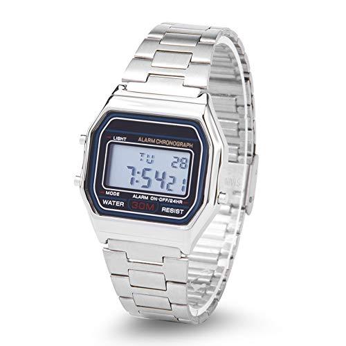 Reloj Digital LED Back Light Wristwatch Chic Watch Watch para hombres mujeres, rectángulo electrónico reloj plata reloj de pulsera digital reloj relojes de negocios relojes