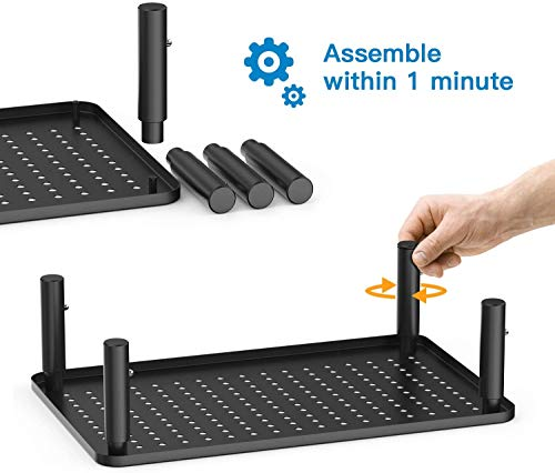 Monitor Stand Riser - 3 Height Adjustable Monitor Stand for Laptop, Computer, iMac, PC, Printer, Desktop Ergonomic Metal Monitor Riser Stand with Mesh Platform for Airflow by HUANUO