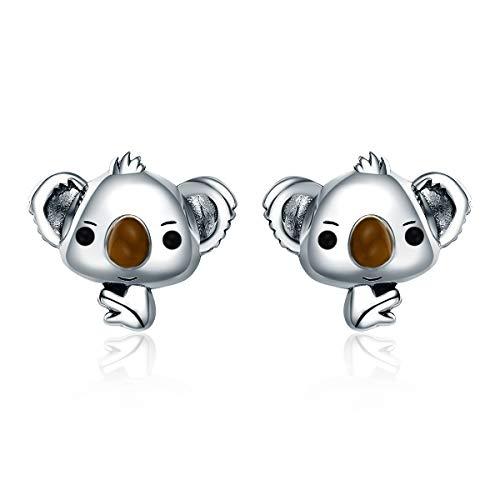 Orecchini a perno a forma di koala, in argento Sterling 925, idea regalo per donne