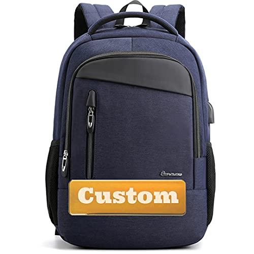 Nome personalizzato Ragazze adolescenti con tascabile 15.6 Zaino per laptop per uomo Port USB Donne School (Color : Shenlanse, Size : One size)