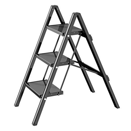 M-Y-S Escalera de tijera de 3 peldaños Escalera de peldaño plegable ligera...
