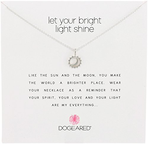 Dogeared Reminders- Let Your Bright Light Shine Sterling Silver Sun and Moon Charm Necklace, 16