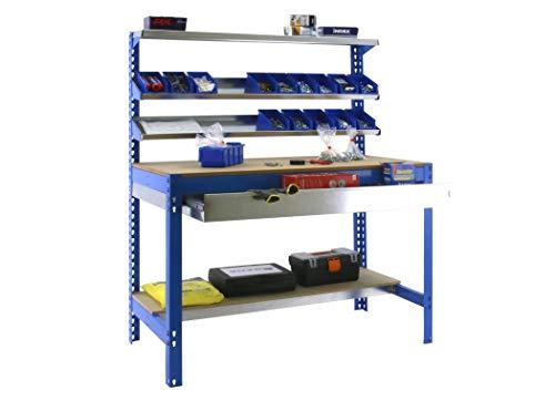 Banco de trabajo BT1 con cajón Simonwork Azul/Madera Simonrack 1445x1210x610 mms - Banco de trabajo resistente - mesa de...