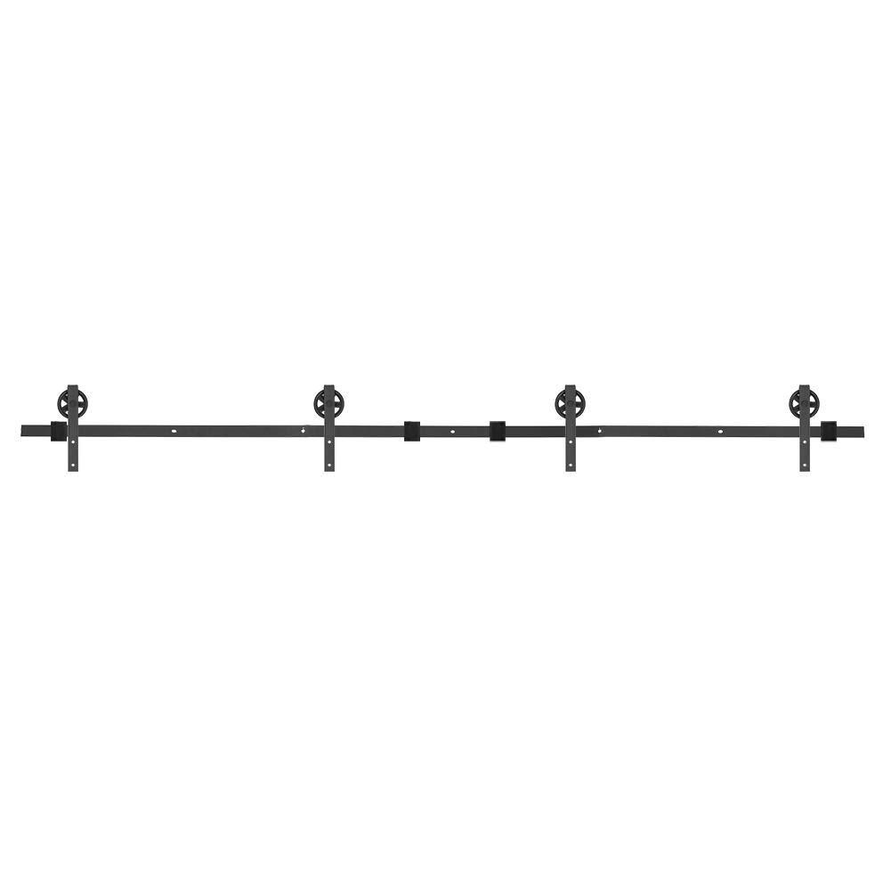 Zoternen - Riel de Puerta corrediza para Colgar en la Puerta de Madera, Sistema de Puerta corredera para Exterior e Interior, Doble Puerta: Amazon.es: Hogar