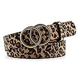 TFACR Frauen Ledergürtel - Damen-Hüftgürtel mit O-Ring-Schnalle, Mädchen Leopard Gürtel für Jeans/Kleid/Hose,A
