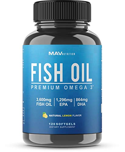 Fish Oil Premium Omega 3 with EPA + DHA, 3600mg, Brain, Heart, Joints and Skin Support, Triple Strength-Lemon Flavor Burpless Softgels, Non-GMO