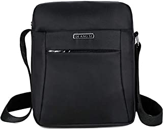 Fashion Waterproof Oxford Cloth Shoulder Messenger Bag Outdoor Simple Travel Men's Backpack (Color : Black)