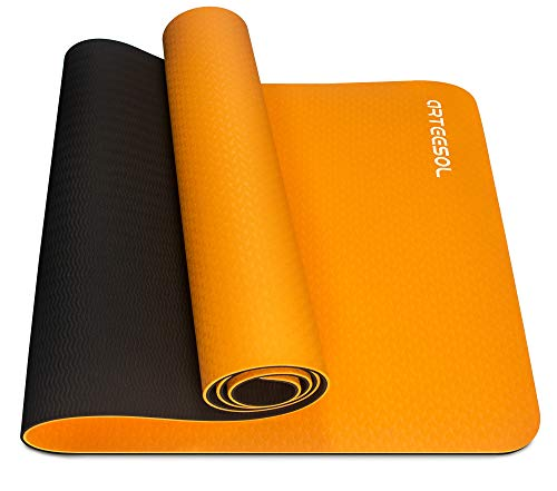 arteesol Yogamatte rutschfest Gymnastikmatte Schadstofffrei TPE Dünn Yoga Matte Fitnessmatte Trainingsmatte Sportmatte für Yoga Pilates Fitness 183cm x 61cm x 6mm (orange, 183x61x0,6cm)
