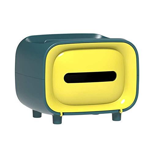 Servilletero con base de 4 patas, dispensador de papel facial, caja de almacenamiento de pañuelos con caja de control remoto para teléfono