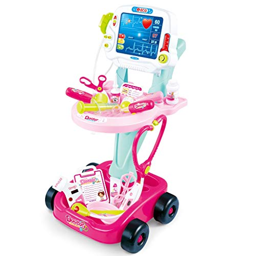 Doctor Cart for Toddlers | Toy Medical Kit Pretend Playset Double-Decker Trolley with Stethoscope Syringe | Role Playing Educational Indoor Games for Kids 3+, Pink (Shipment from USA, Pink a)